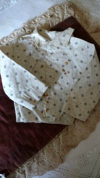 1900s Calico Doll Blouse White Black Shirting Fabric Home Sewn