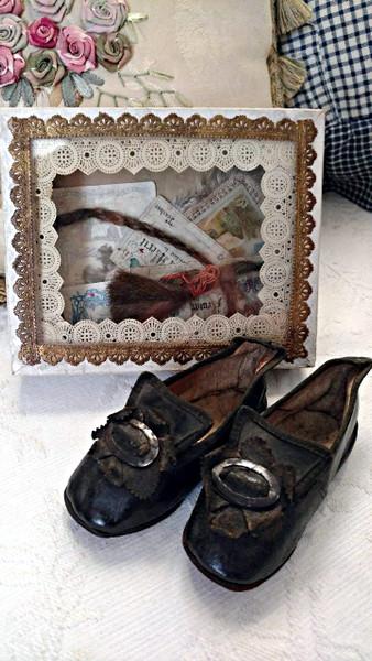 Victorian Trinket Keepsake Memory Box Baby Shoes Merit Reward Hair Lock