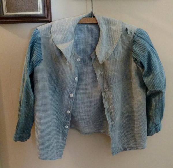 Child Homespun Blue Calico Shirt Primitive Worn 19th Century