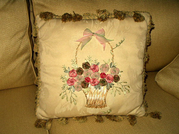 Brocade Rosette Ribbon Basket Embroidery Throw Pillow