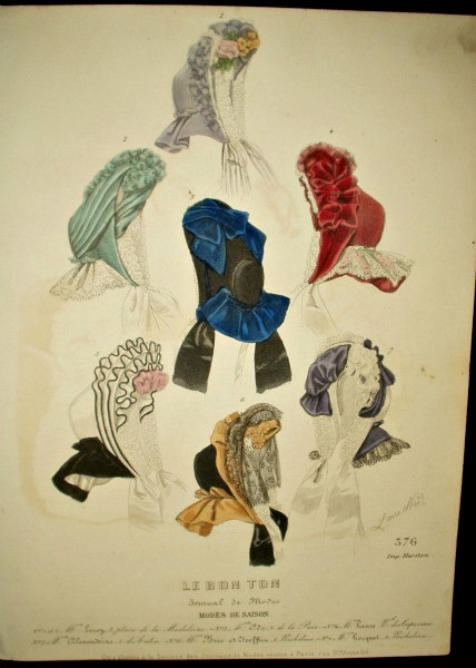 1850 Hand Colored Engraved Page Journal de Modes Hats Bonnets Magazine