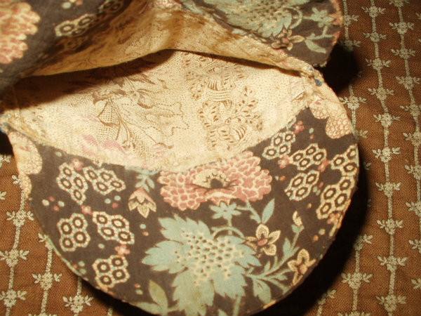 1830 1860 Hand Stitched Brown Calico Fabric Fold Over Pocket Bag
