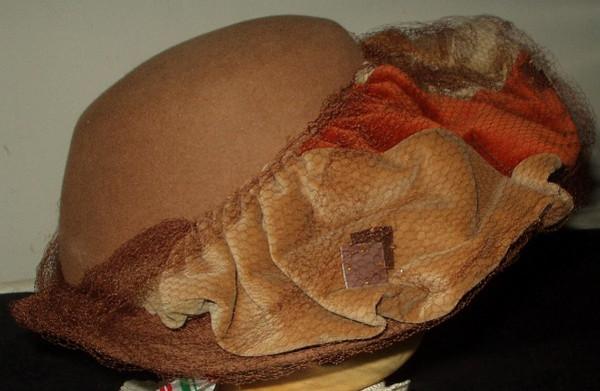 Mid 1950s Vintage Brown And Rust Felt Brim Hat