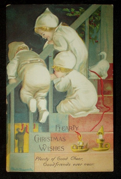 Christmas Wishes Ellen Clapsaddle Signed Postcard Children Christmas Eve