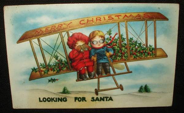Antique Victorian Looking For Santa Children In Bi-Plane 1900 Postcard