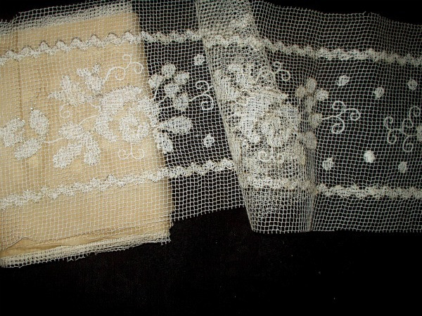 Antique Edwardian 1920's Tambour Darn Net Metallic Lace Dress Trim