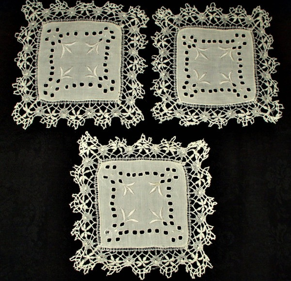 3 Early 1900 Cutwork Embroidered Linen Doilies Bobbin Lace Edging Trim