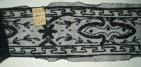 Antique Victorian 1900 French Black Beadwork On Net New York Label