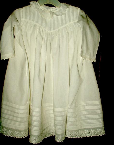 Antique Victorian Child Baby Doll Cotton Dress Tucks Eyelet Trim