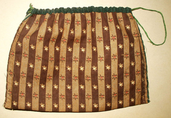 Country Primitive 1860 Hand Stitched Calico Cloth Sewing Seed Bag