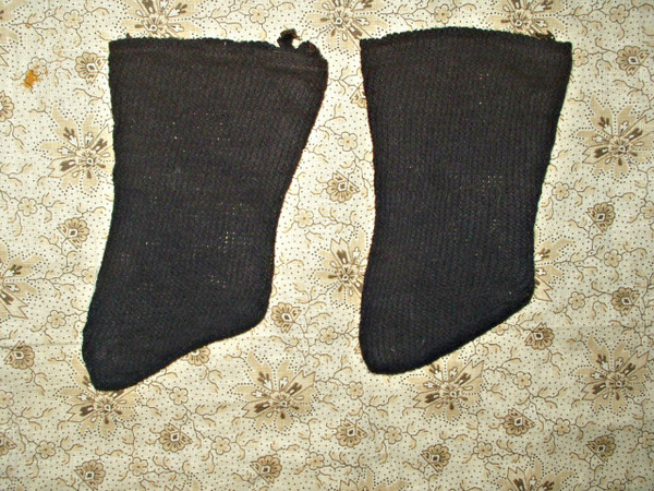 Country Primitive 1900's Old  Black Knit Stockings For Cloth Doll