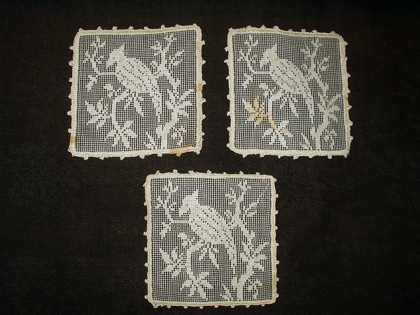 Three Antique Vintage Needlelace Table Doily Or Coaster Bird Motif