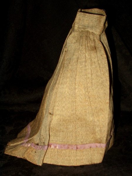 Antique Victorian 1860 Bustle Back Handstitched Linen Doll Skirt