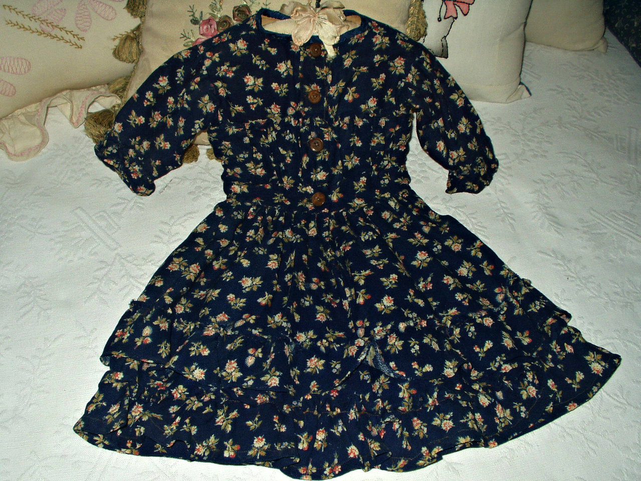 Victorian blue challis children baby doll antique dress for Childrens dress fabric