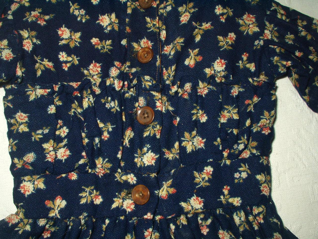 Victorian blue challis children baby doll antique dress for Vintage childrens fabric prints