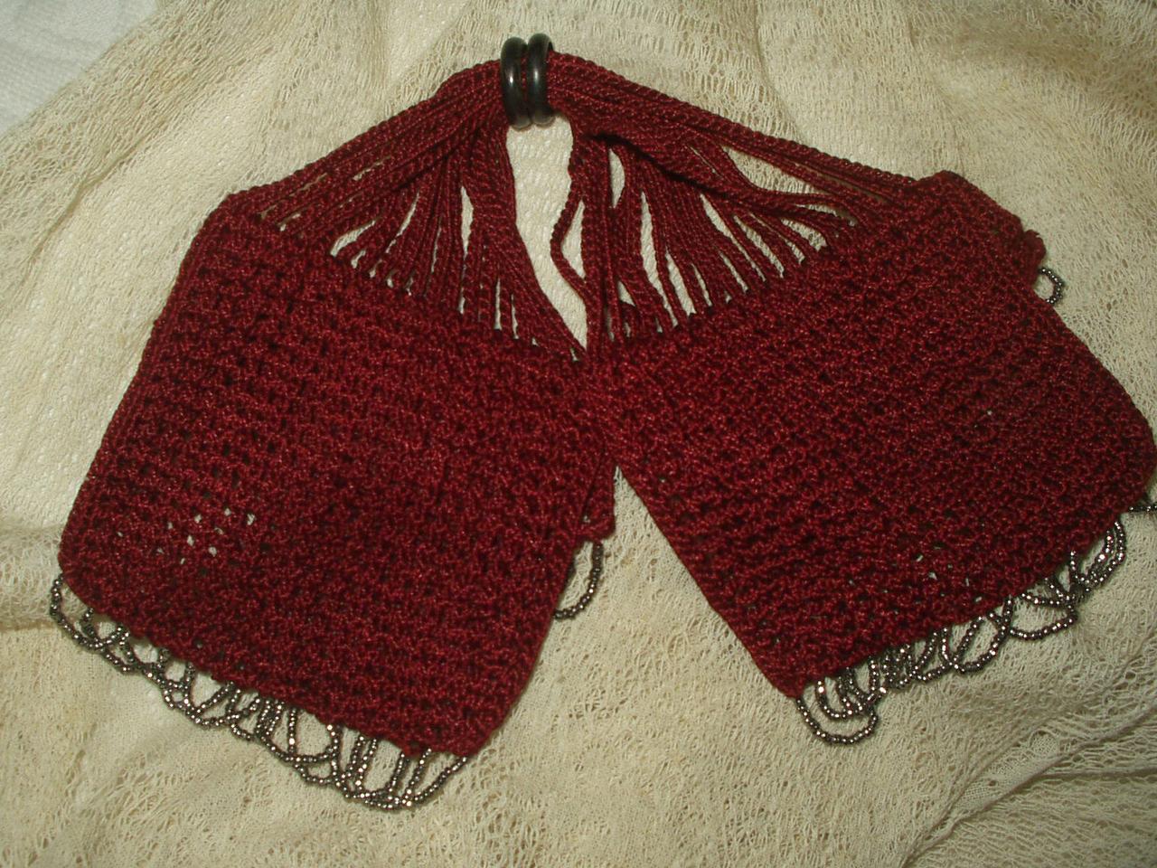 Antique Knitted Silk Miser Bag Coin Purse Silver Bead -5243