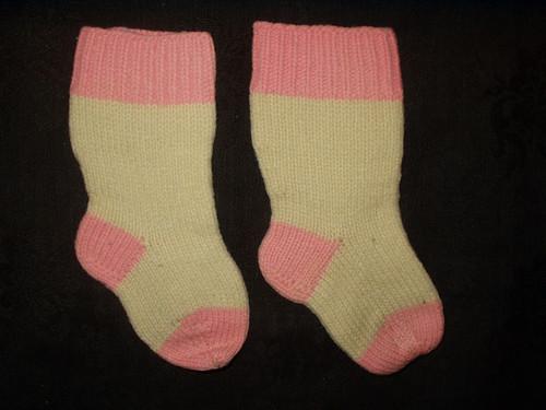 Victorian Pair Hand Knitted Wool Baby Stockings Hosiery