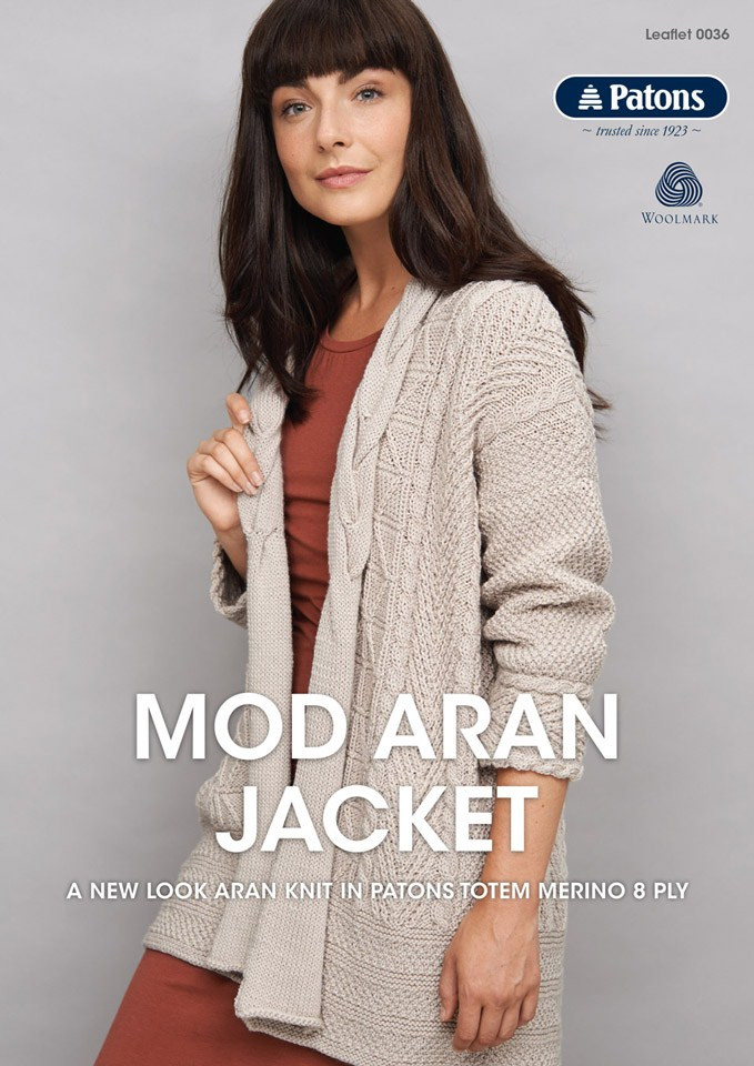 Mod Aran Jacket Patons Knitting Pattern 0036