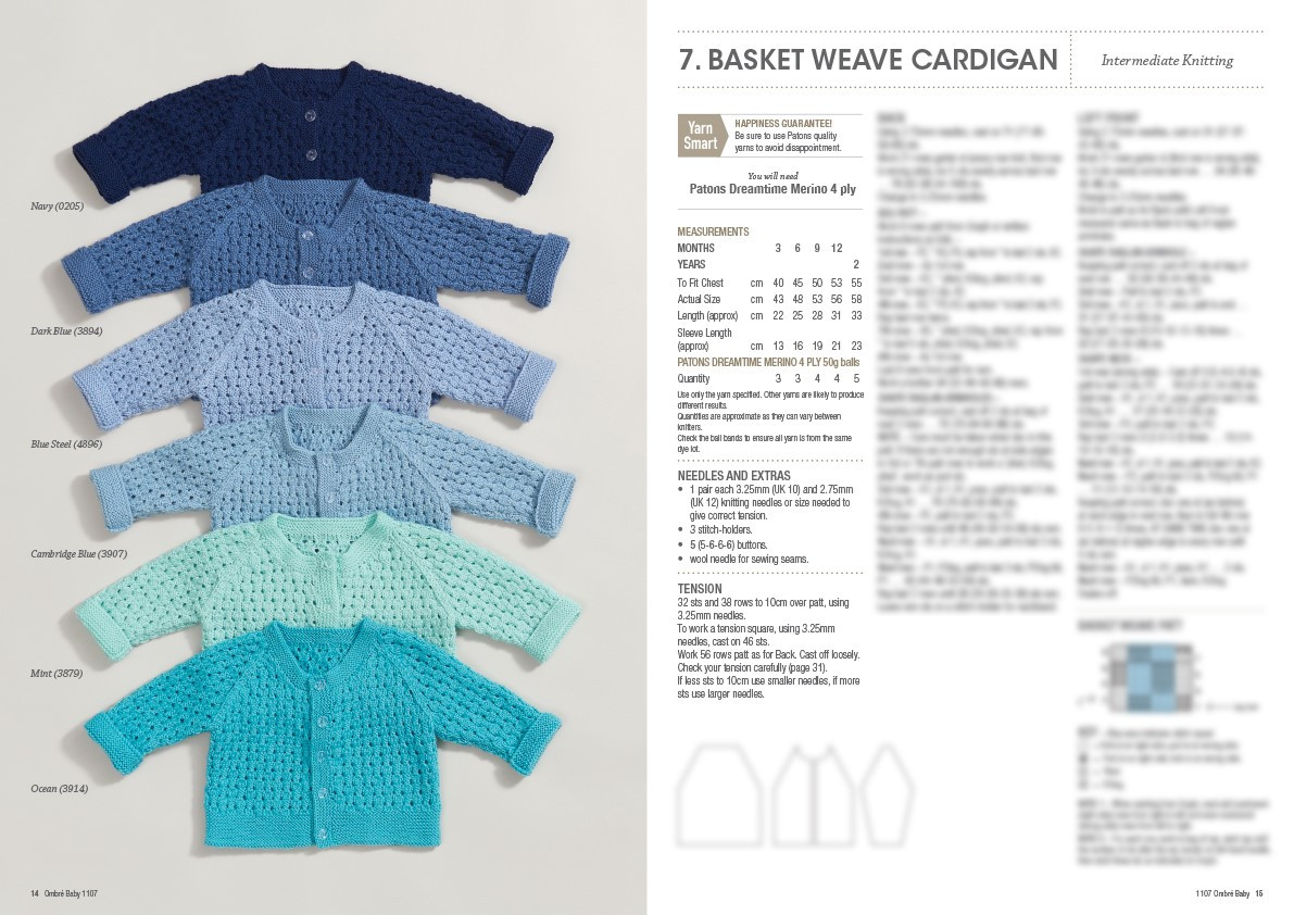18 Ombre Baby Patons Knitting Pattern 1107