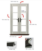 5-PIECE W/STRIP KIT INCLUDES  QTY (4) 84'' 100828 AND (1) 84'' 139397 FOR  (OUT-SWING) FRENCH DOUBLE  DOORS UP TO 6FT WIDE AND 8FT HIGH