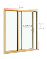 2-PANEL clad custom sized sliding door / LOW-E 270 GLASS... UNIT DIMENSION:  65'' wide x 76'' tall