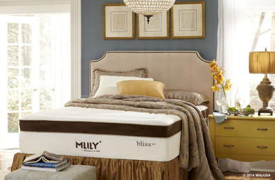 MLily Bliss +Gel Mattress in room on upholstered bed