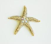1 piece  Rhinestone Gold tone Starfish Bling Bling Piece -- by lovekitty