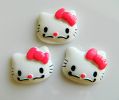 3 piece mustache Hello Kitty Resin Cobochons  -- by lovekitty