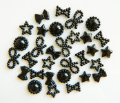30 Pcs Black Color Flatback Pearl Cabochon -- by lovekitty