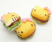 3 Hello Kitty Hamburgers flatback Resin Cobochons  -- by lovekitty