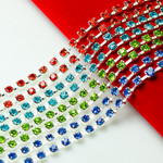 Colors Single Row Glass Rhinestone Chain Trim SS12 ( Length: 50 cm ) ---- by lovekittybling