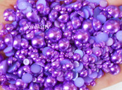 800 pieces Purple Mixed Sizes Flatback Pearl Cabochons -- lovekittybling