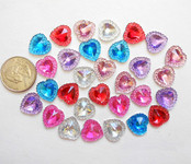 10 pcs Mixed colors dotted Heart Flat Back Rhinestones  --- by lovekitty