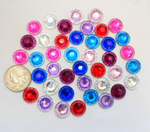 10 pcs Mixed colors Round Flat Back Rhinestones  --- by lovekitty