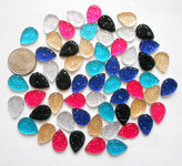 10 pcs Mixed colors dotted Flat Back Rhinestones (size: 16mm) --- by lovekitty