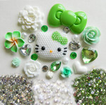 DIY 3D Pearled Hello Kitty Kawaii Cabochons Deco Kit / Set 378 -- lovekitty