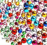 20g (sold by weight) Mixed Colors & Mixed Sizes Flat back Rhinestones Round 14 Cut --- by lovekitty