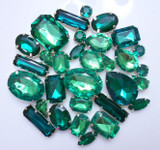 30 pcs --- Sew-On Gems -- Dark Green -- Mixed Shapes Gems ( has thread holes ) ---- love kitty bling