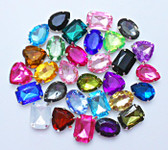 30 pcs --- Sew-On Gems -- Assorted Colors -- Mixed Shapes medium size Gems ( has thread holes ) ---- love kitty bling
