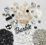 DIY 3D White Crown Bling Bling Kawaii Resin Cabochons Cell Phone Case Deco Kit / Set Z388 -- lovekitty