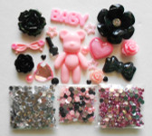 DIY 3D Pink Bear Bling Bling Kawaii Cabochons Cell Phone Case Deco Kit / Set Z391 --- lovekitty