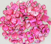 100 pcs --- Sew-On Gems -- Hot Pink -- Mixed Shapes Flat Back Gems ( Mixed Sizes has thread holes ) ---- love kitty bling