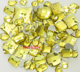 100 pcs --- Sew-On Gems --  Light Yellow  -- Mixed Shapes Flat Back Gems ( Mixed Sizes has thread holes ) ---- love kitty bling