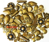 100 pcs --- Sew-On Gems --  Antique Brass  -- Mixed Shapes Flat Back Gems ( Mixed Sizes has thread holes ) ---- love kitty bling