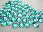 Lake Blue  --- 6mm  50pcs --- Rhinestones Round Flat back 14-facet ( High Quality ) --- lovekitty
