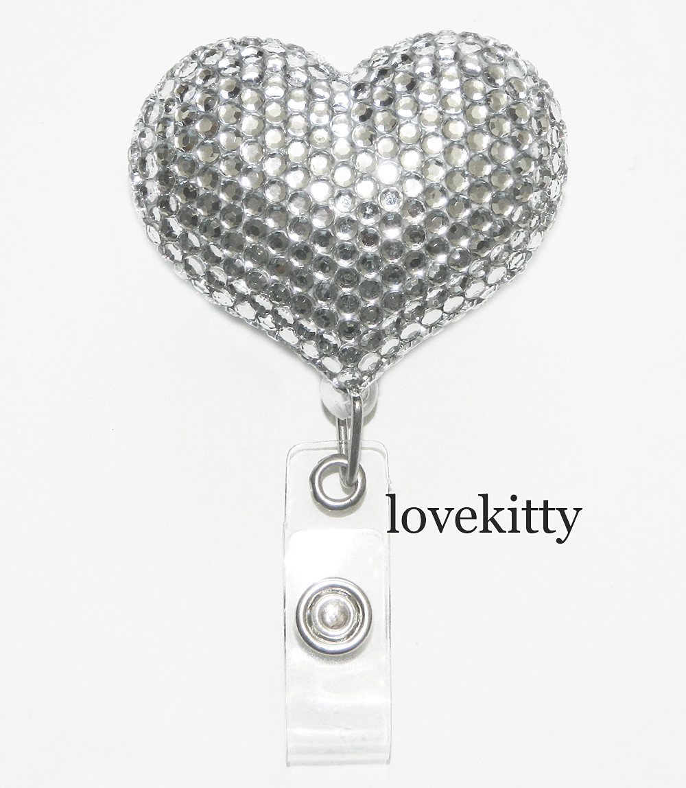 Clear Heart Fully Binged Out Retractable Id Badge Holder Name