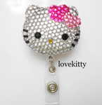 Heart Bow -- Blinged Out Hello Kitty Retractable ID Badge Holder / Name Badges / ID Badge Reel ( 100% Handcrafted ) ----  lovekitty