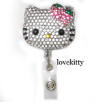 Pink Strawberry Bow -- Blinged Out Hello Kitty Retractable ID Badge Holder / Name Badges / ID Badge Reel ( 100% Handcrafted ) ----  lovekitty