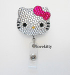 Fuchsia Bow -- Blinged Out Hello Kitty Retractable ID Badge Holder / Name Badges / ID Badge Reel ( 100% Handcrafted ) ----  lovekitty
