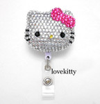 Hot Pink Bow -- Blinged Out Hello Kitty Retractable ID Badge Holder / Name Badges / ID Badge Reel ( 100% Handcrafted ) ----  lovekitty